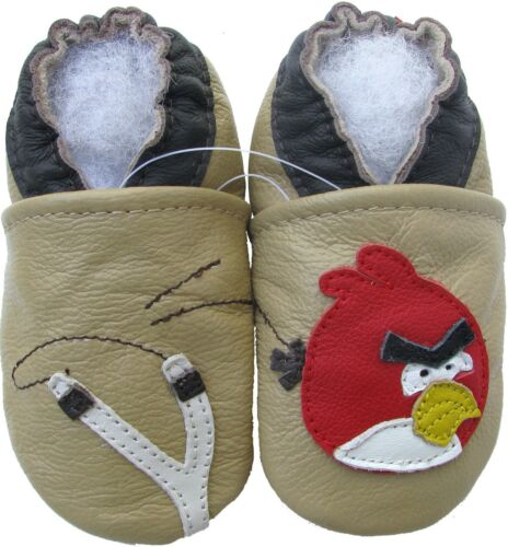 carozoo bird slingshot tan 5-6y new soft sole leather kid shoes