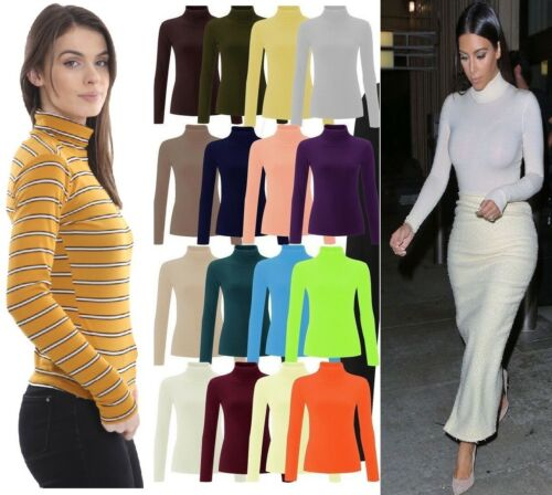 WOMENS RIBBED ROLL NECK JUMPER TOP LADIES RIB POLO NECK LONG SLEEVE TOP 8-26
