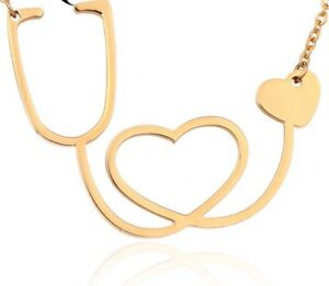 Stethoscope Heart Charm Necklace Jewelry Doctor Nurse ...