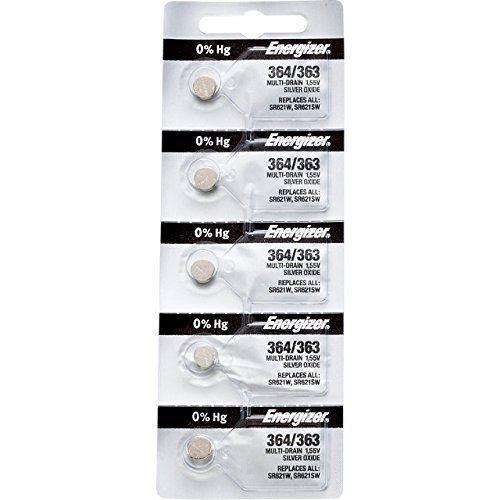 5 x Energizer 364 Watch Batteries, 0% MERCURY equivilate SR621SW