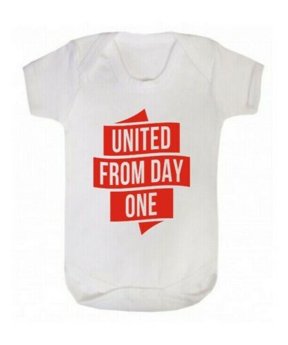 Day One Diddywear Man United Newborn Baby Vest Babygrow Bodysuit White MUFC