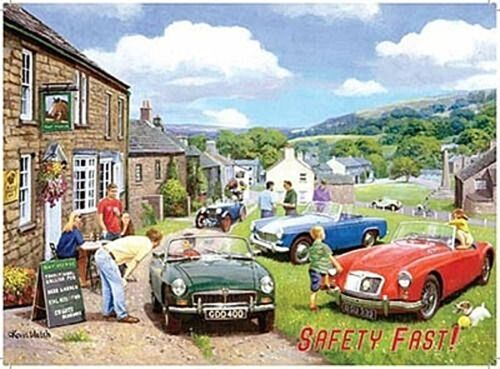 "MG Classic Car Gathering ""Safety Fast!"" small metal sign 200mm x 150mm og"