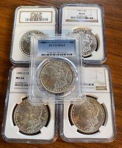 BULK-Lot-5-Coins-MS64-1879-1904-Morgan-Silver-Dollar-NGC-PCGS-Set-Collection