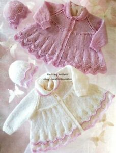 642-DK-Knitting-Pattern-for-Baby-Matinee-Coats-amp-Hats-Premature-12-20-039-039