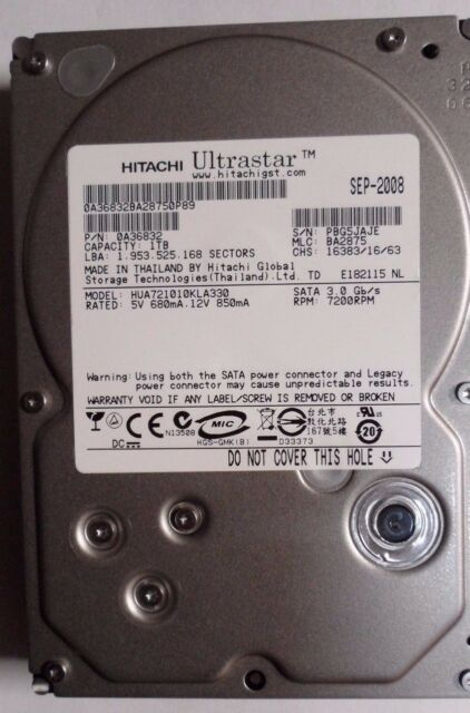 "Hitachi ULTRASTAR 1TB SATA Internal 7200RPM 3.5"" HDD Hard Drive HUA721010KLA330"