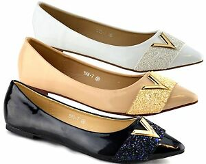 Ladies-Womens-Shoes-Slip-On-Evening-Wedding-Flat-Ballerina-Pumps-Size