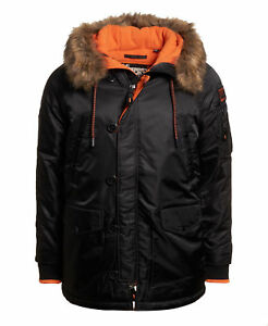 New Mens Superdry Sd-3 Parka Coat Black