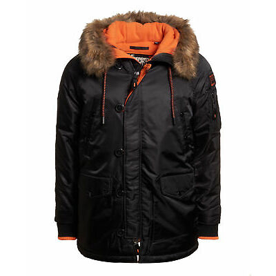 New Mens Superdry Sd-3 Parka Coat Black