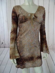 GLAM-Top-or-Mini-Dress-S-Poly-Stretch-Blend-Pullover-See-Thru-Floral-HIPPIE-HOT