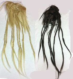 Braided-Scrunchie-Ponytail-Holder-Hairpiece-w-8-14-5-034-Mini-Braids-Choose-Color
