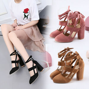 Womens-Suede-High-Heel-Pumps-Strappy-Classic-Chunky-Heels-Block-Shoes-Plus-Size