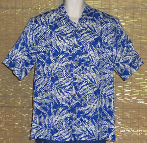 Island-Republic-Hawaiian-Shirt-Silk-Blue-White-Floral-Leaves-Size-Large-NWT