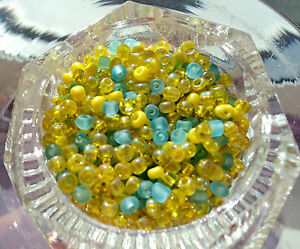 50-grams-2mm-BN-YELLOW-amp-BLUE-SEED-BEAD-MIX-50G