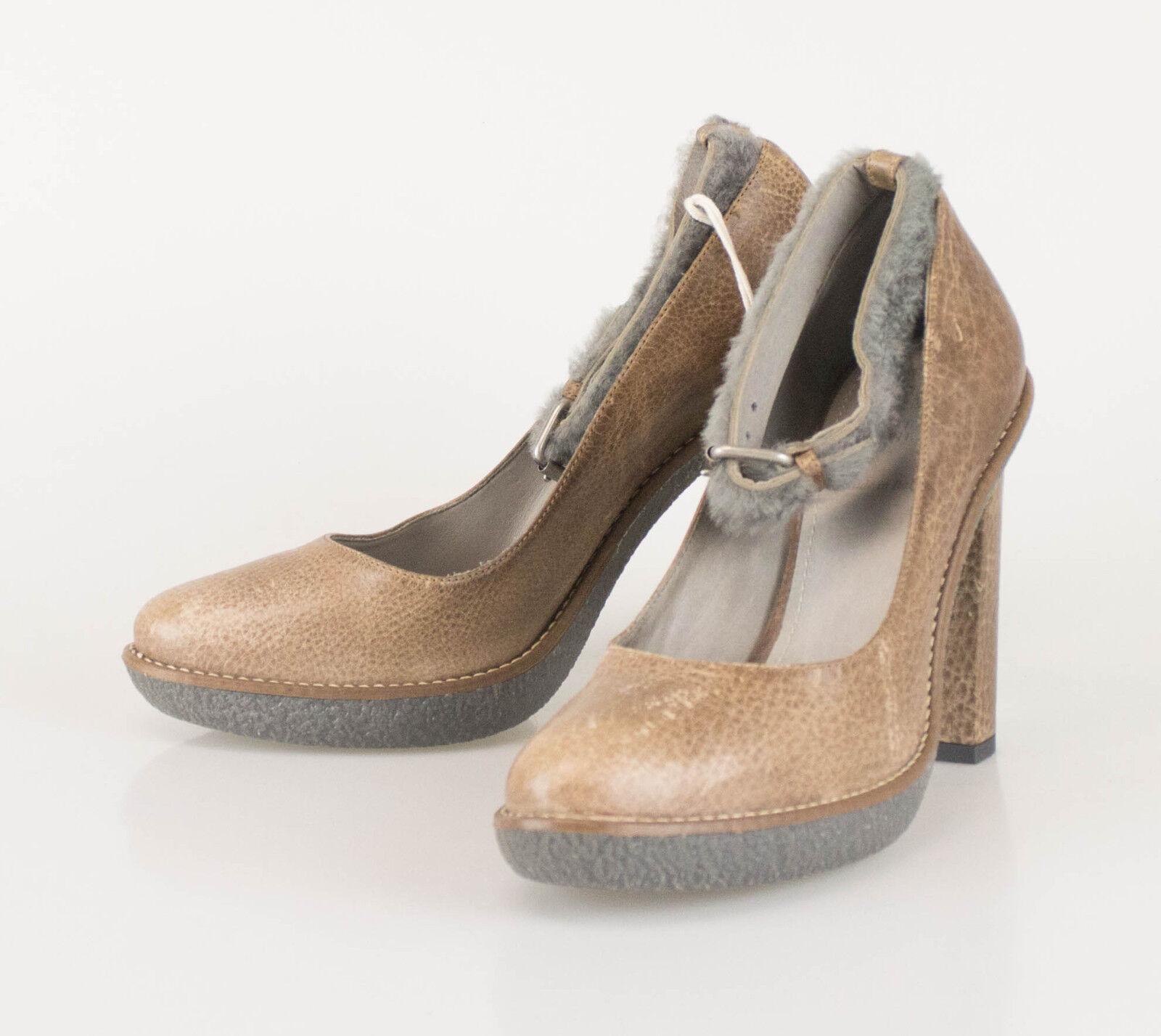 Nuevo Nuevo Nuevo BRUNELLO CUCINELLI De Cuero Marrón Con Piel Bombas Tacones Zapatos Talla 40 10  875  envío rápido en todo el mundo