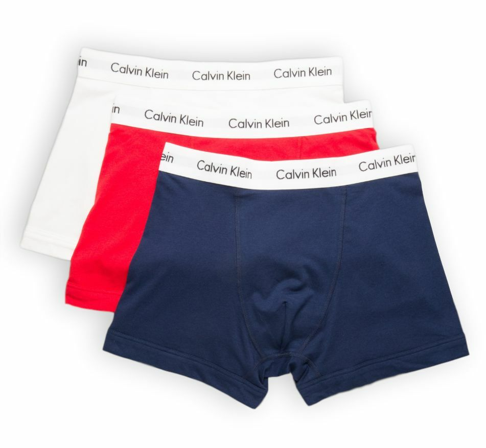 Calvin Klein Mens 3 Pack Cotton Stretch Trunks - Red/Blue/White