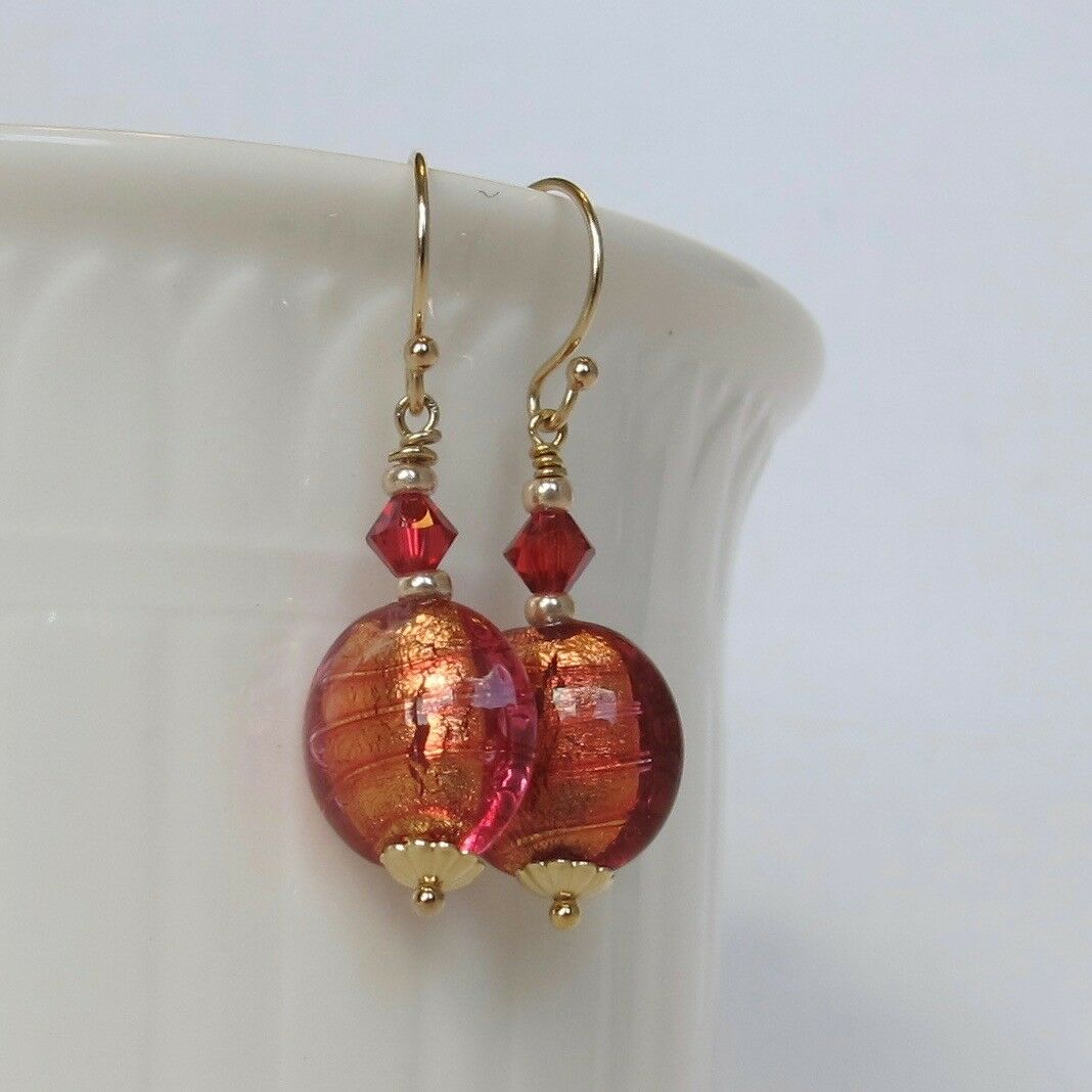 13cb2dad2 JanKellieDesigns- Venetian Fuchsia and Solid 14k gold Earrings gold ...