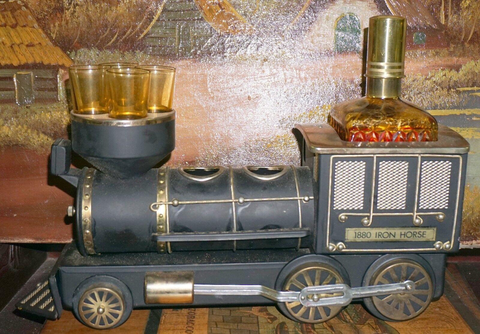 1880 iron horse - tendenz porta liquori con carillon - ferrovia
