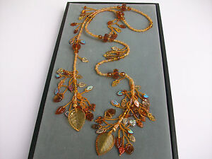 Autumn handmade beadwork lariat necklace with lampwork glass, crystals Fall leaf