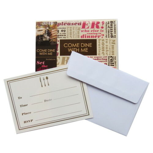 Pack of 8 Dinner Party Invitiations and Envelopes Come Dine with Me