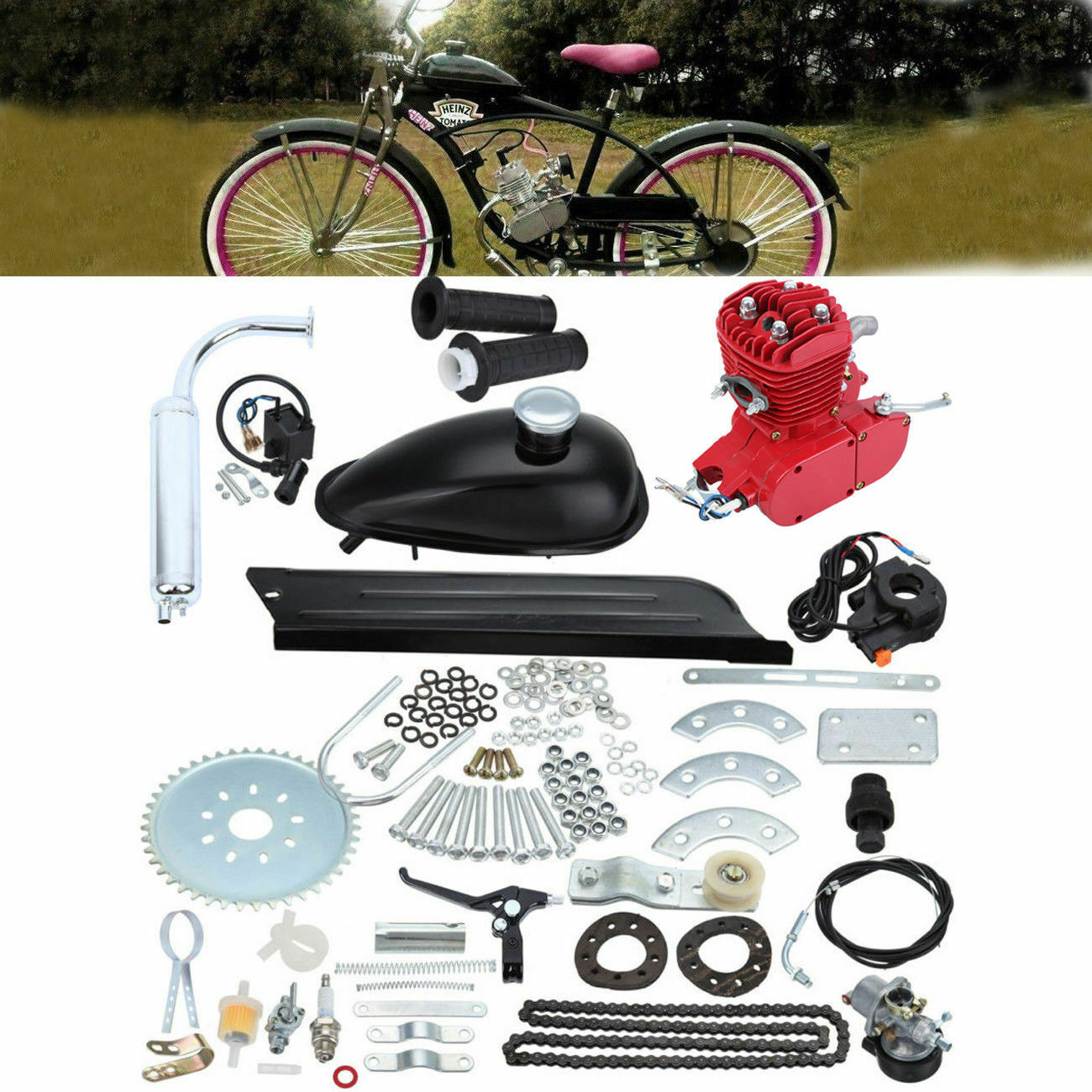 nouveau rouge 80 CC 2 CYCLE GAS MOTOR MOTORIZED ENGINE BIKE BICYCLE MOPED SCOOTER KIT
