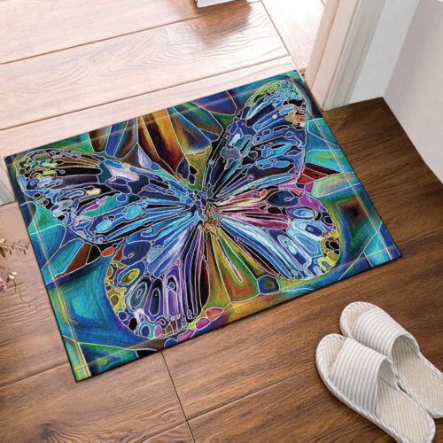 Colorful Butterfly Waterproof Fabric Shower Curtain Liner w// Hooks Bath Mat Set