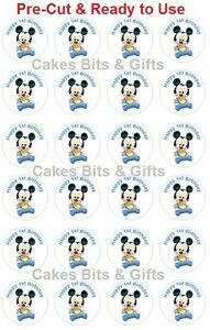24x-BABY-MICKEY-MOUSE-1st-Bday-Edible-Wafer-Cupcake-Toppers-Pre-Cut-Ready-to-Use