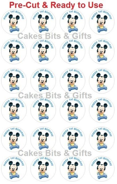 24x BABY MICKEY MOUSE 1st Bday Edible Wafer Cupcake Toppers,Pre Cut Ready to Use