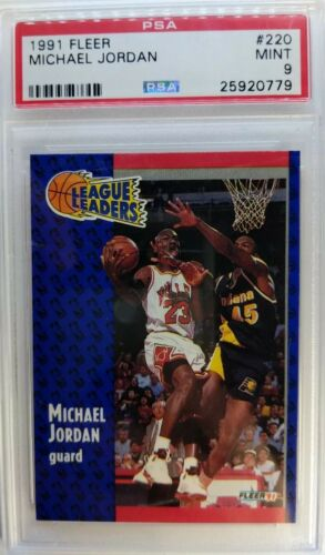 "Graded PSA 9 Mint! 1991 91 FLEER #220 MICHAEL JORDAN /""LEAGUE LEADERS/"""