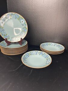 """Vintage Taylor Smith & Taylor Co. Blue Azure 8 Salad Plate 8"""" And 4 Bowls 7"""" C5"""