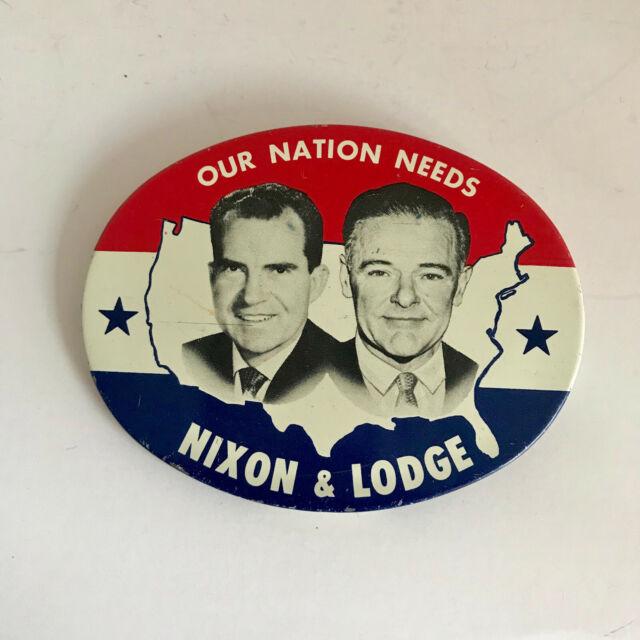 Rare Nixon Pins: F241 Vintage Nixon & Lodge 1960 Election Oval Pictorial