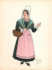 Gravure d'Emile Gallois costume des provinces françaises 1950 Angoumois