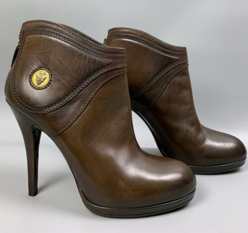GUCCI Diana Brown Leather Ankle Boots Size 38 C L… - image 1