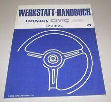 Werkstatthandbuch Honda Civic Shuttle EE4 4WD Motor Bremsen Heizung Ausgabe 1987