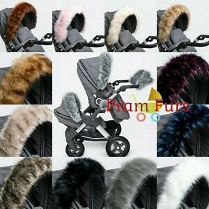Royal-Fur-Pram-Hood-Fur-Trim-Baby-Pram-Accessory-Buggy-Universal-Fit