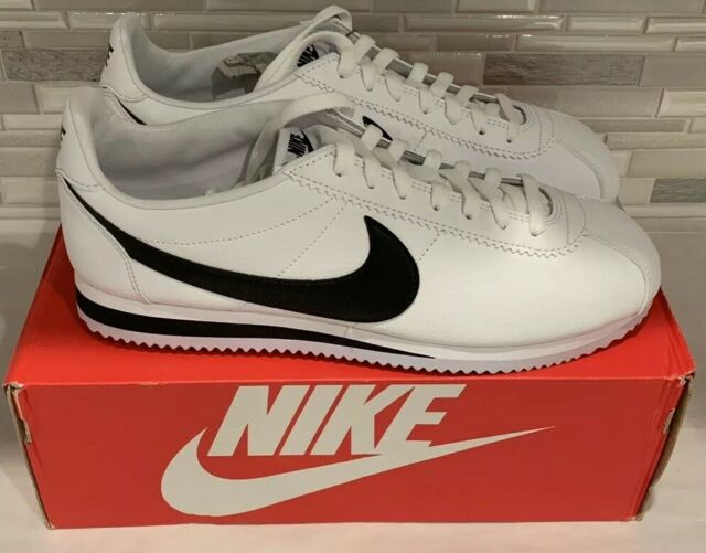 Nike Classic Cortez Leather White Black Running Shoes Size 12 Mens 749571  100