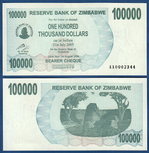 Zimbabwe/zimbabwe 100000 Dollar 2006 Without Space Unc P. 48 A-afficher Le Titre D'origine
