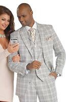 Grey Plaid 3 Piece Dress Mens Suit M2679 Ej Samuel Fashion Jacket+vest+pants