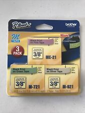 Brother Me793 P Touch M Tape 3pack Black On Pink Green And Silver 35m27