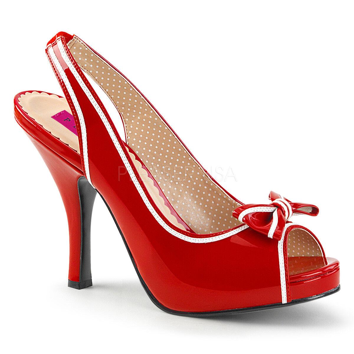 Pleaser PINUP-10 PINUP-10 PINUP-10 Women's Red White Patent Slingback Hidden Platform Pump Sandals 2ec926