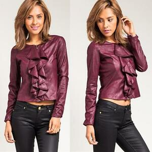 Women-Gothic-Fitted-Faux-Suede-Leather-Ruffle-Lined-Victorian-Blazer-Jacket-Top