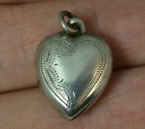 Antique-Solid-Silver-Puff-Heart-Charm-Pendant