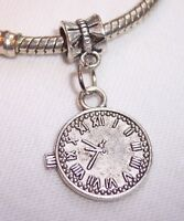Clock Time Piece Watch Stopwatch Dangle Bead For Silver European Charm Bracelets