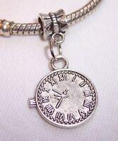 Clock Time Piece Watch Stopwatch Dangle Bead For Silver European Charm Bracelets