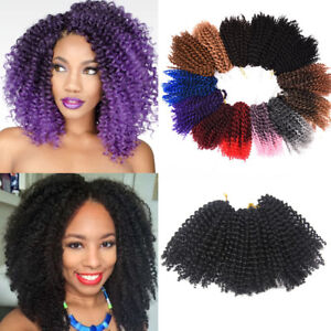 "3PCS 8"" Mali Bob Curly Weave Synthetic Afro Twist Crochet Braid Hair Extensions"