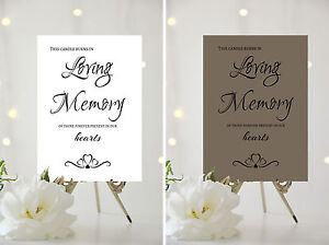 A4/A5 WEDDING SIGN - CANDLE BURNS IN LOVING MEMORY.. - CHOICE OF ...