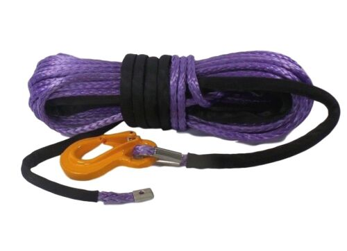 Dyneema SK75 self recovery 4x4. 100ft 10mm Synthetic Winch Rope /& Hook