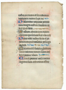 14th-cent-Latin-decorated-medieval-manuscript-GOLD-caps-Book-of-hours-psalm-RARE