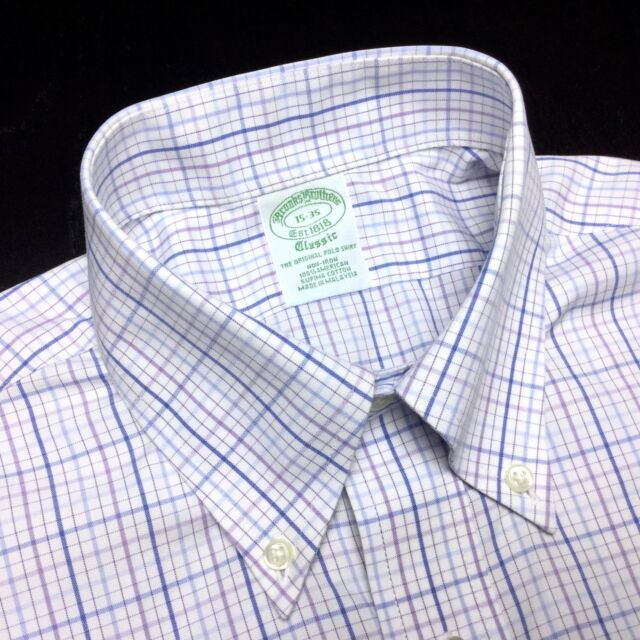 BROOKS BROTHERS Mens 15 35 White Blue Purple Plaid Non-Iron Supima Oxford Shirt