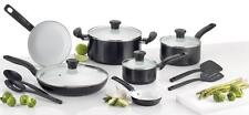 T-fal C921SE Initiatives Ceramic Nonstick Cookware Set, 14-Piece, Black, NEW