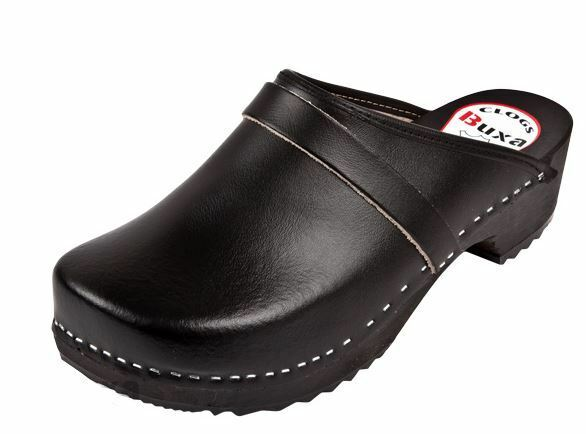 Men   Wooden leather clogs  Black color